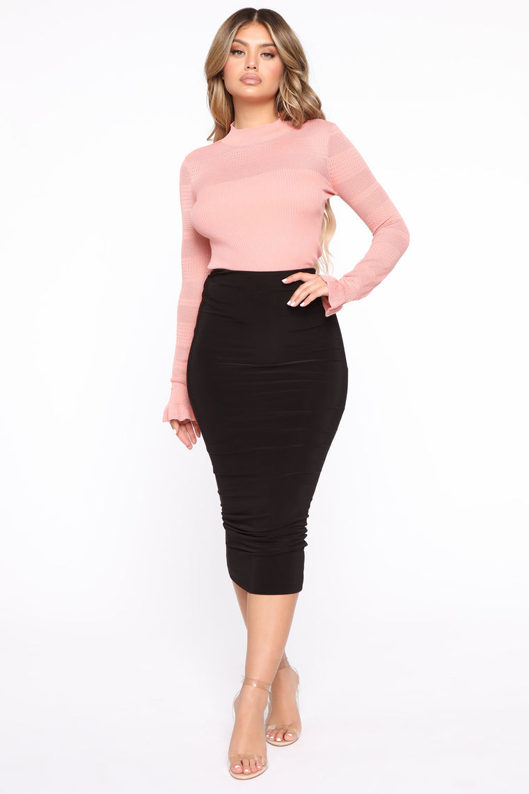 Kiss Me Softly Ribbed Sweater - Rose