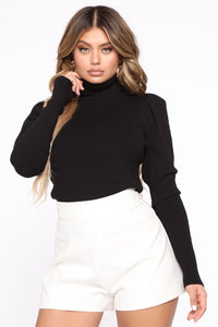 MaryAnne Puff Sleeve Sweater - Black