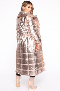 Reign Puffer Coat - Rose Gold