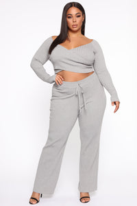 Loving You More Pant Sweater Set  - Heather Grey Angle 1