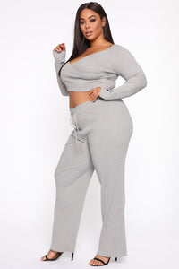 Loving You More Pant Sweater Set  - Heather Grey Angle 3