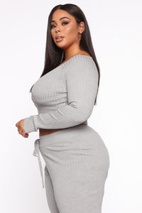 Loving You More Pant Sweater Set  - Heather Grey Angle 4