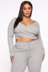 Loving You More Pant Sweater Set  - Heather Grey Angle 2