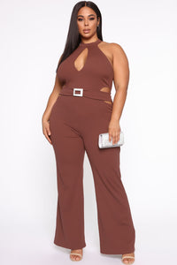 Seduction Is Key Mock Neck Jumpsuit - Red Brown Angle 1
