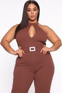 Seduction Is Key Mock Neck Jumpsuit - Red Brown Angle 2