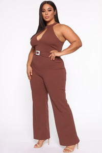 Seduction Is Key Mock Neck Jumpsuit - Red Brown Angle 3