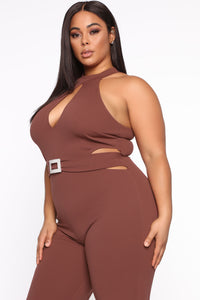 Seduction Is Key Mock Neck Jumpsuit - Red Brown Angle 4
