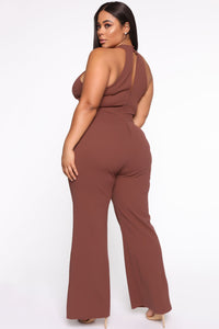Seduction Is Key Mock Neck Jumpsuit - Red Brown Angle 5