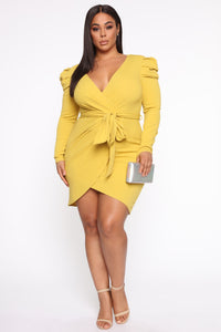 Demure Vix Wrap Dress - Chartreuse Angle 1