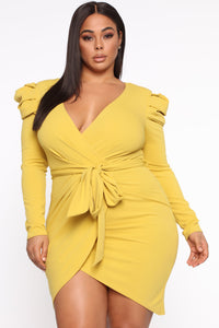 Demure Vix Wrap Dress - Chartreuse Angle 3