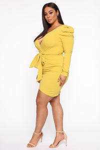 Demure Vix Wrap Dress - Chartreuse Angle 4