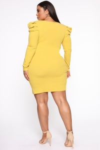 Demure Vix Wrap Dress - Chartreuse Angle 2