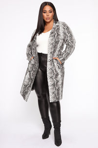 Snake 'Em Down Faux Leather Coat - Grey