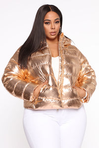 Astro Metallic Puffer Jacket - Rose Gold
