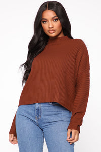 Feeling Nice And Cozy Sweater - Rust Angle 1