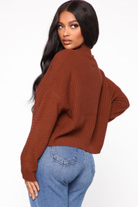 Feeling Nice And Cozy Sweater - Rust Angle 3