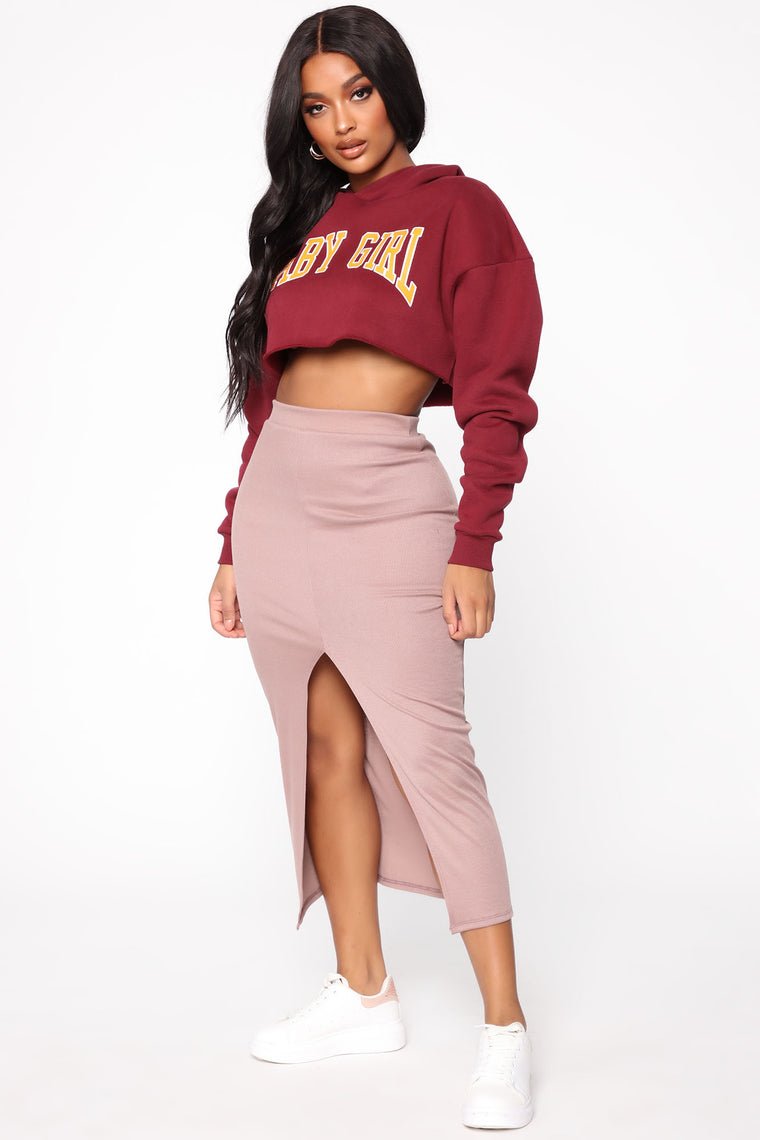 Boarding Jets Midi Skirt - Taupe