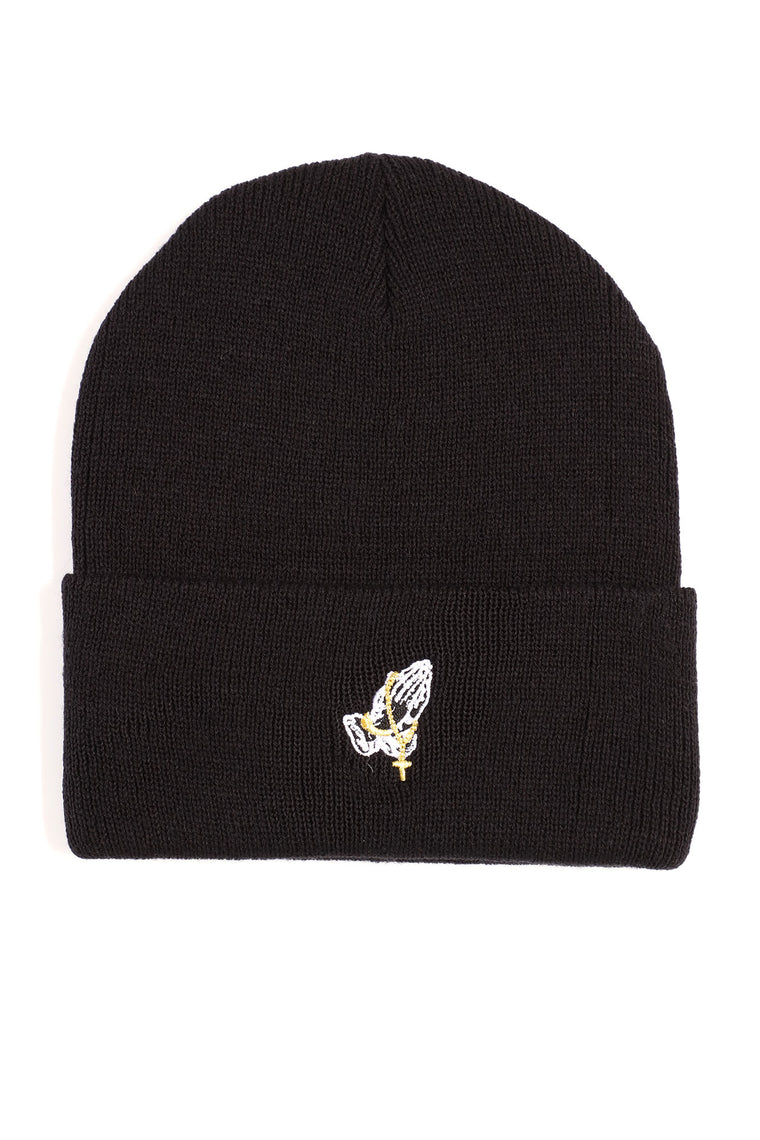 Bless Up Embroidered Beanie - Black