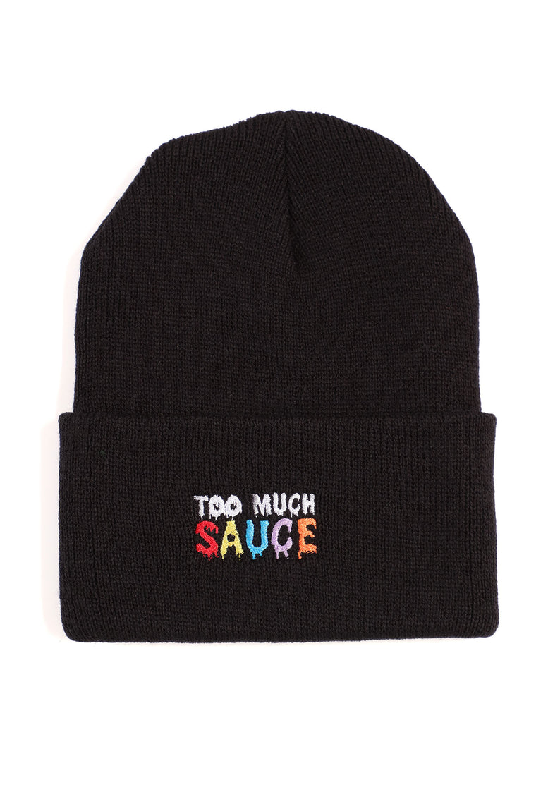 Too Much Sauce Embroidered Beanie - Black