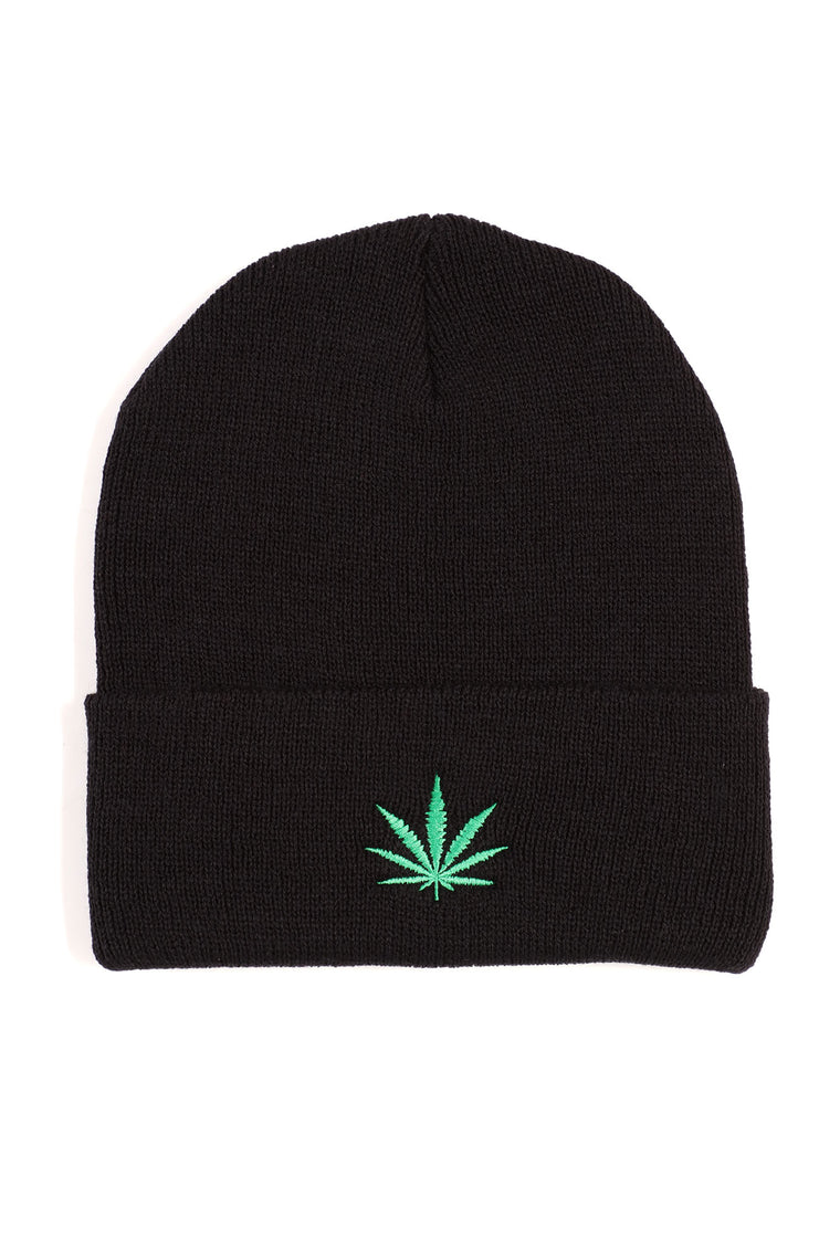 Light Up Embroidered Beanie - Black