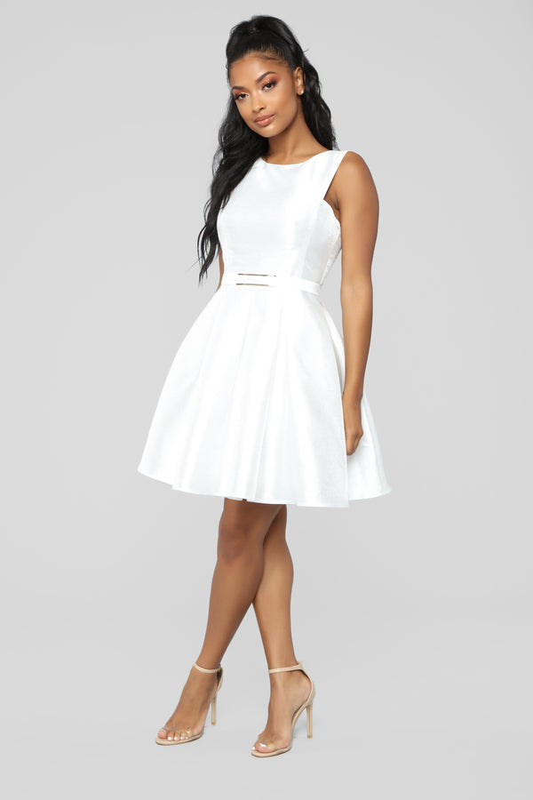 ae43fb13a0d Sandra D Fit And Flare Dress - White