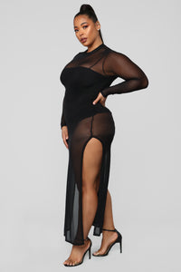 No Hard Feelings Cover Up Dress - Black