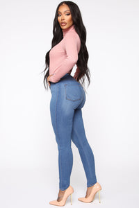 Classic High Waist Skinny Jeans - Medium Blue Wash Angle 6