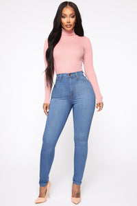 Classic High Waist Skinny Jeans - Medium Blue Wash Angle 5