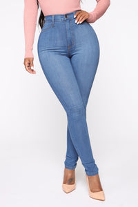 Classic High Waist Skinny Jeans - Medium Blue Wash Angle 7