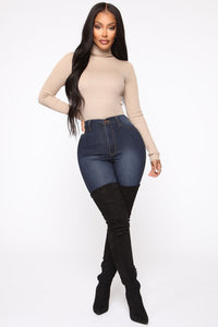 Classic High Waist Skinny Jeans - Dark Denim Angle 5