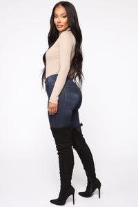Classic High Waist Skinny Jeans - Dark Denim Angle 6