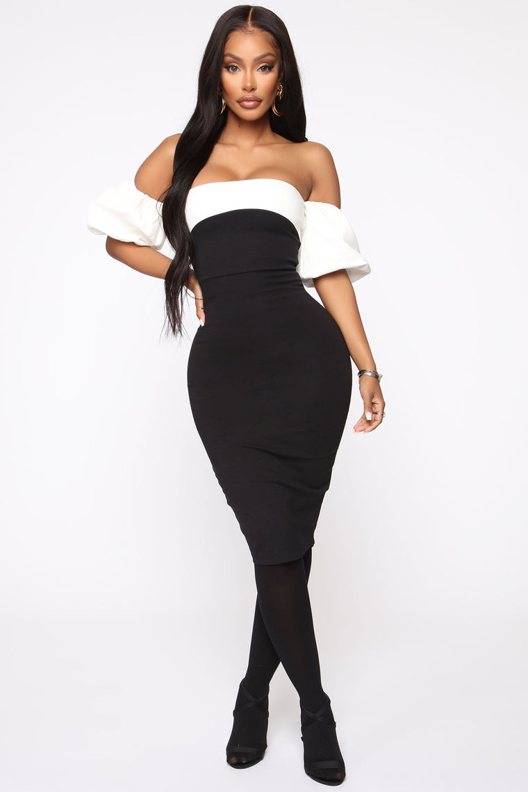 Fashion Forward Off Shoulder Midi Dress - Black/White