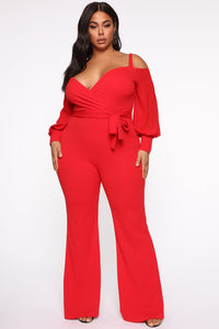 Falling For Your Charm Jumpsuit - Red Angle 5