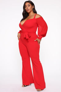 Falling For Your Charm Jumpsuit - Red Angle 8