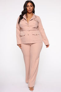 Nothing To A Boss Utility Pant Set - Taupe Angle 1