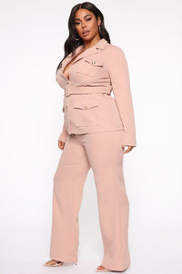 Nothing To A Boss Utility Pant Set - Taupe Angle 3