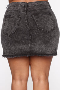 Keeping Secrets Mini Skirt - Acid Wash