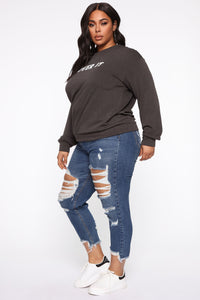 Honestly Over It Long Sleeve Sweatshirt - Charcoal Angle 4
