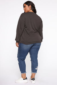 Honestly Over It Long Sleeve Sweatshirt - Charcoal Angle 6
