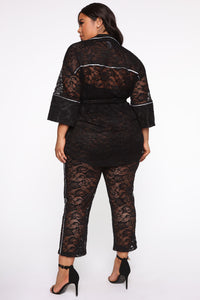 I'm On Cloud Nine Lace Pant Set - Black