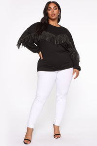Shimmy It Off Fringe Top - Black Angle 7