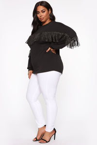 Shimmy It Off Fringe Top - Black Angle 9