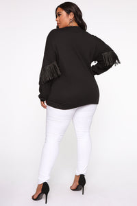 Shimmy It Off Fringe Top - Black Angle 10