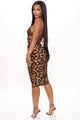Tania Ruched Midi Dress - Brown/combo
