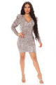 Celene Sequin Mini Dress - Brown