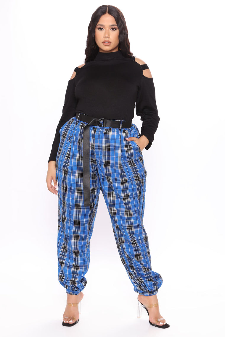 Rock The Runway Plaid Joggers - Blue/combo