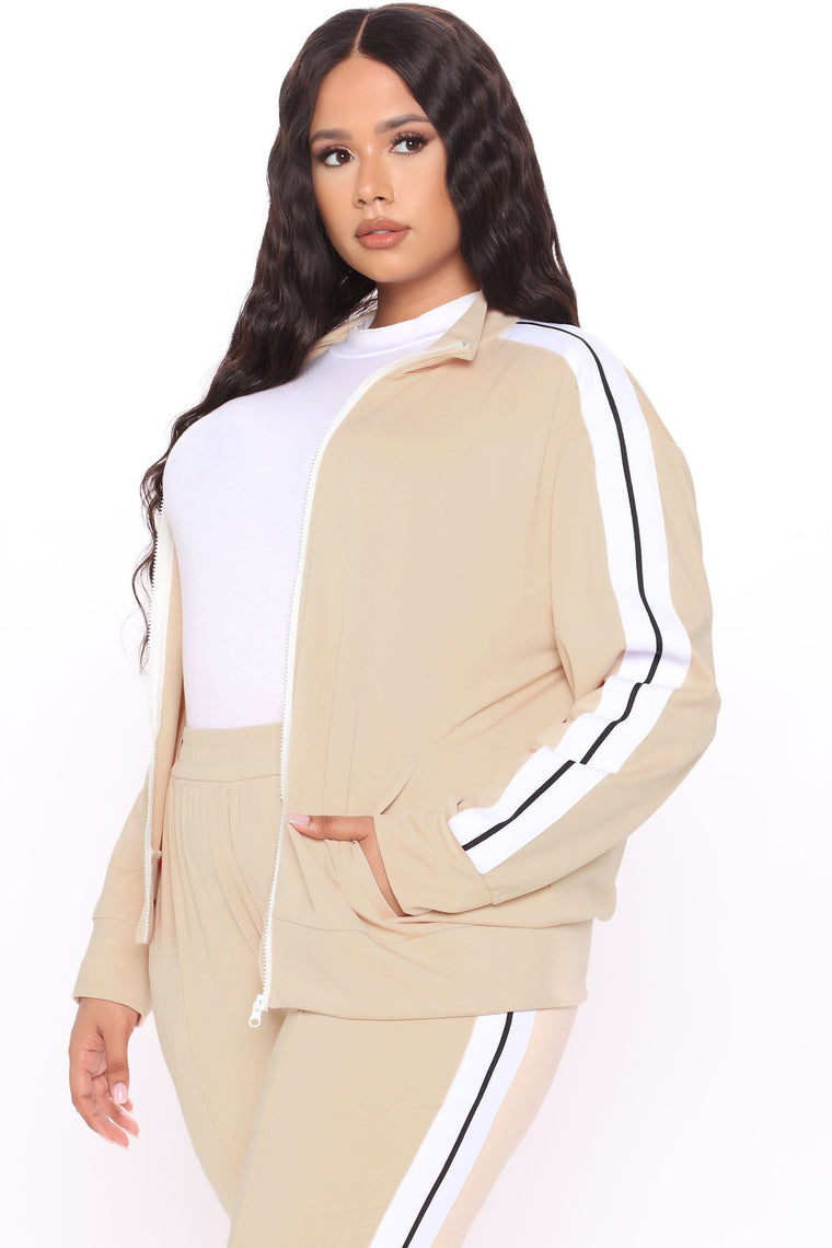 On My Vibe Track Jacket And Pant Set - Tan