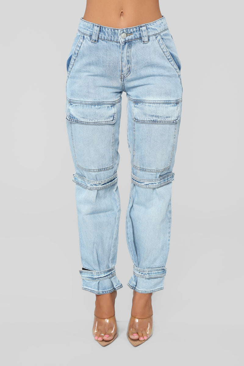 Strap It Up Cargo Jeans - Light Blue Wash