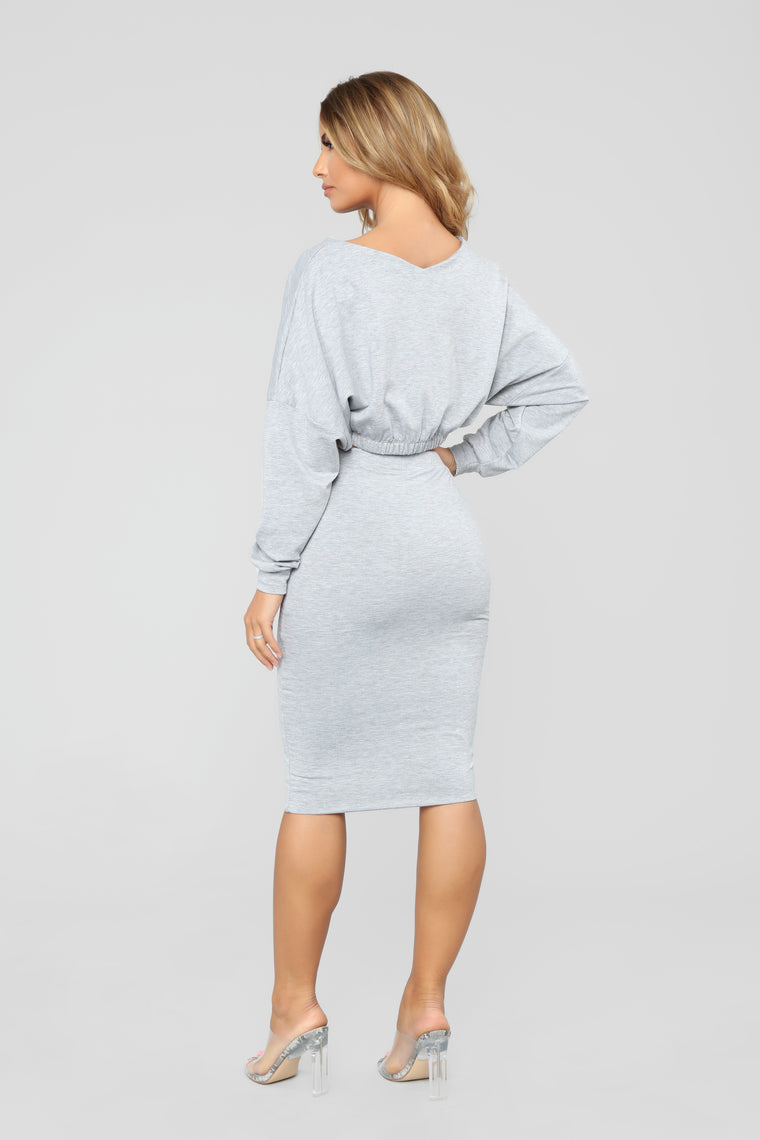 It Takes Two Skirt Set - Grey