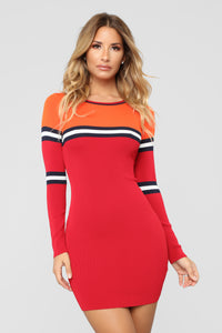 Along The Lines Sweater Dress - Red/Orange